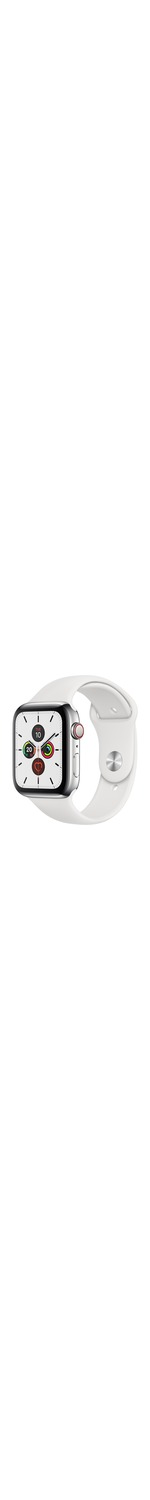 Apple Watch Series 5 Smart Watch - Wrist Wearable - White Band - Stainless Steel Case - Cellular Phone Capability - LTE, UMTS