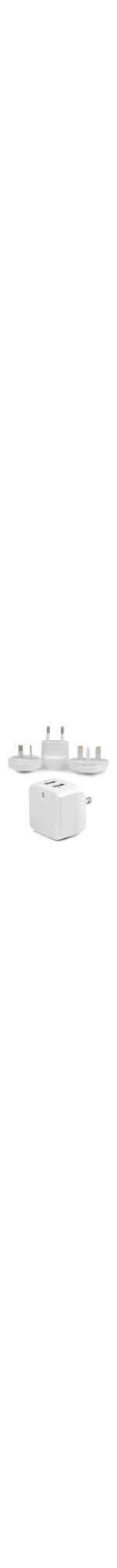 StarTech.com White Dual Port USB Wall Charger - High Power 17 Watt / 3.4 Amp - Travel Charger International