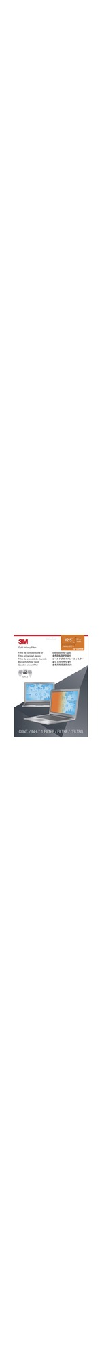3M Privacy Screen Filter - Gold - For 31.8 cm 12.5And#34; Widescreen Notebook - 16:9 - Dust Resistant, Scratch Resistant