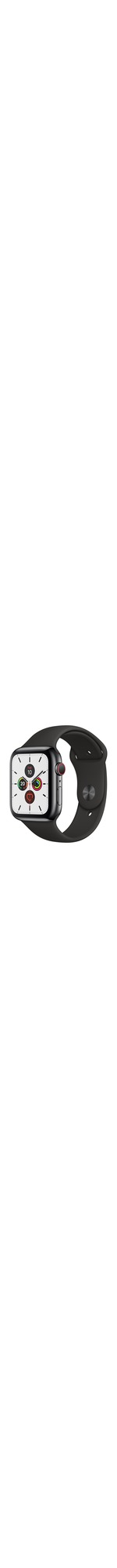 Apple Watch Series 5 Smart Watch - Wrist Wearable - Space Black Case - Black Band - Stainless Steel Case - Cellular Phone Capability - LTE, UMTS