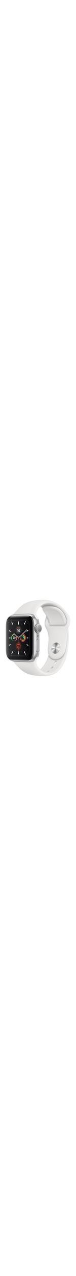 Apple Watch Series 5 Smart Watch - Wrist Wearable - Silver Aluminum Case - White Band - Aluminium Case