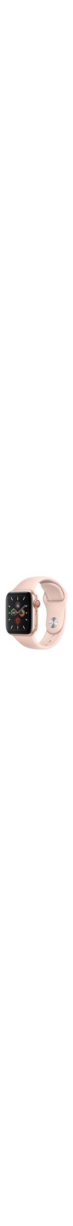 Apple Watch Series 5 Smart Watch - Wrist Wearable - Gold Aluminum Case - Pink Sand Band - Aluminium Case - Cellular Phone Capability - LTE, UMTS
