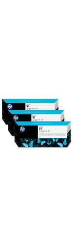 HP No. 91 Ink Cartridge, 3 pack - Light Grey - C9482A