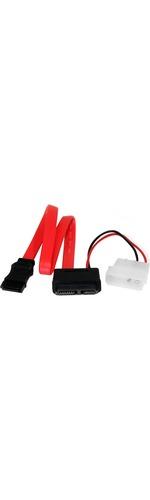 StarTech.com 12in Slimline SATA to SATA with LP4 Power Cable Adapter - SATA - SATA