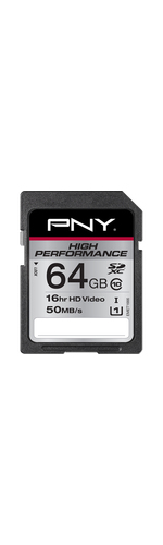 PNY Elite Performance 64 GB SDXC - Class 10/UHS-I - 100 MB/s Read - 65 MB/s Write - 1 Card/1 Pack