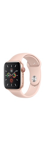 Apple Watch Series 5 Smart Watch - Wrist Wearable - Gold Aluminum Case - Pink Sand Band - Aluminium Case - Cellular Phone Capability - LTE, UMTS