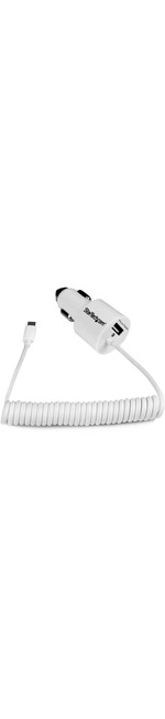 StarTech.com White Dual Port Car Charger with Micro USB Cable and USB 2.0 Port