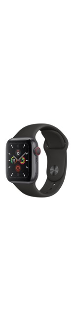 Apple Watch Series 5 Smart Watch - Wrist Wearable - Space Gray Aluminum Case - Black Band - Aluminium Case - Cellular Phone Capability - LTE, UMTS