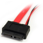 StarTech.com 12in Slimline SATA to SATA with LP4 Power Cable Adapter - SATA - SATA