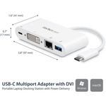 StarTech.com USB C Multiport Adapter - with Power Delivery USB PD - USB C to USB 3.0 / DVI / Gigabit Ethernet - USB-C Hub - Charge a laptop through USB Type C and