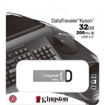 Kingston DataTraveler Kyson 32 GB USB 3.2 Gen 1 Type A Flash Drive - Silver - 200 MB/s Read Speed - 1 Piece