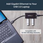StarTech.com 3 Port Portable USB 3.0 Hub with Gigabit Ethernet Adapter NIC - Aluminum w/ Cable