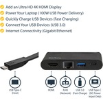 StarTech.com USB C Multiport Adapter with HDMI - 4K - Mac / Windows - 1xA plus 1xC - 100W PD 3.0 92W Laptop Charging - GbE - Wraparound Cable - USB C multiport adapter