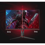 AOC C24G2AE 23.6And#34; Full HD Curved Screen WLED 165Hz Gaming LCD Monitor - 16:9 - Black Red