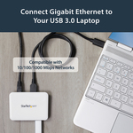 StarTech.com USB 3.0 to Gigabit Ethernet NIC Network Adapter with 3 Port Hub - White - 3 Total USB Ports