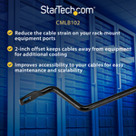 StarTech.com Horizontal Lacing Bar w/ 2 inch Offset at 75 Degrees- Server Rack Cable Management- 19And#34; Network Rack-Mount Cord Organizer- 10pk CMLB102 - Route your c