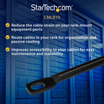 StarTech.com Horizontal Lacing Bar - Server Rack Cable Management - 19And#34; Network Rack Mount Cord Organizer- 10 pack CMLB10 - Route your cables on these horizontal c