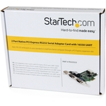 StarTech.com 2 Port Native PCI Express RS232 Serial Adapter Card with 16550 UART - 2 x 9-pin DB-9 Male RS-232 Serial PCI Express