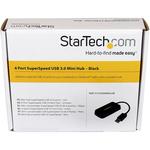 StarTech.com Portable 4 Port SuperSpeed Mini USB 3.0 Hub - Black - 4 Total USB Ports - 4 USB 3.0 Ports