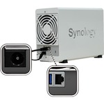 Synology DiskStation DS220J 2 x Total Bays SAN/NAS Storage System - Realtek Quad-core 4 Core 1.40 GHz - 512 MB RAM - DDR4 SDRAM Desktop - Serial ATA Controller - R