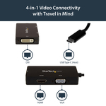 StarTech.com USB-C Multiport Adapter - 4K 30 Hz - USB C to HDMI / DVI / HDMI - USB C Adapter - USB C Dongle - USB C Hub