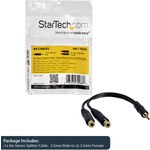 StarTech.com 6in Stereo Splitter Cable - 3.5mm Male to 2x 3.5mm Female - 1 x Mini-phone Male - Black