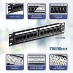 TRENDnet TC-P12C5E 12 Ports Network Patch Panel - 12 x RJ-45 - 12 x RJ-11