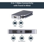 StarTech.com USB-C Multiport Video Adapter - 4-in-1 USB-C to DVI / HDMI / VGA / mDP Video Adapter - Space Gray - 4K 30 Hz - CDPVDHDMDPSG - Connect your laptop to an