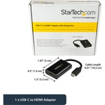 StarTech.com USB-C to HDMI 4K Adapter - 60W USB PD - USB Type C to HDMI - Black - 4K 60Hz - Thunderbolt 3 Compatible - CDP2HDUCP - USB-C video adapter charges laptop