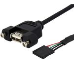 StarTech.com 1 ft Panel Mount USB Cable - USB A to Motherboard Header Cable F/F