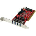 StarTech.com 4 Port PCI SuperSpeed USB 3.0 Adapter Card with SATA/SP4 Power - 4 Total USB Ports