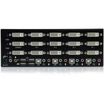 StarTech.com 4 Port Triple Monitor DVI USB KVM Switch with Audio Andamp; USB 2.0 Hub - 4 Port - Rack-mountable