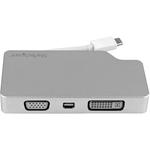 StarTech.com USB-C Multiport Adapter - Aluminum - USB Type C to VGA / 4K HDMI / Mini DisplayPort / DVI - USB C Adapter