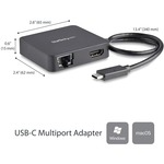 StarTech.com USB C Multiport Adapter - USB Type C to 4K HDMI / USB 3.0 / Gigabit Ethernet - Powered USB Hub - USB-C to USB Adapter - Add HDMI, Gigabit Ethernet, USB-