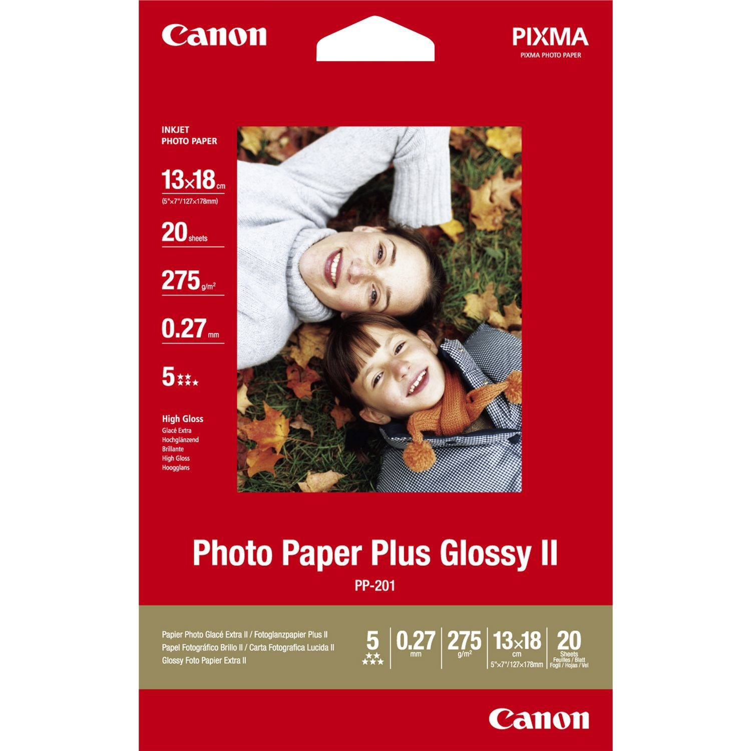 Canon Photo Paper Plus PP-201 Photo Paper - A4 - 210 mm x 297 mm - Glossy - 20 x Sheet