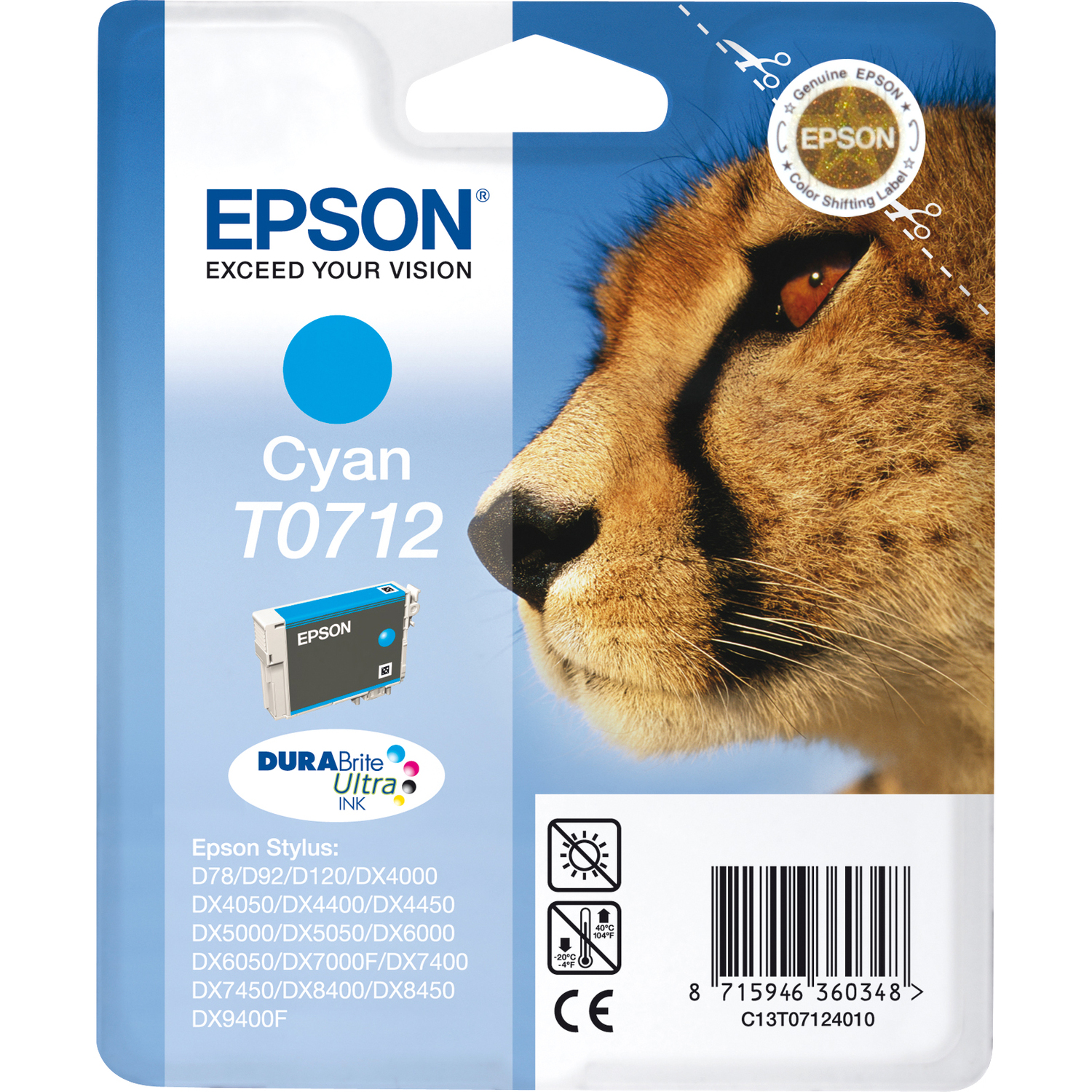 Epson DURABrite Ultra T0712 Ink Cartridge - Cyan