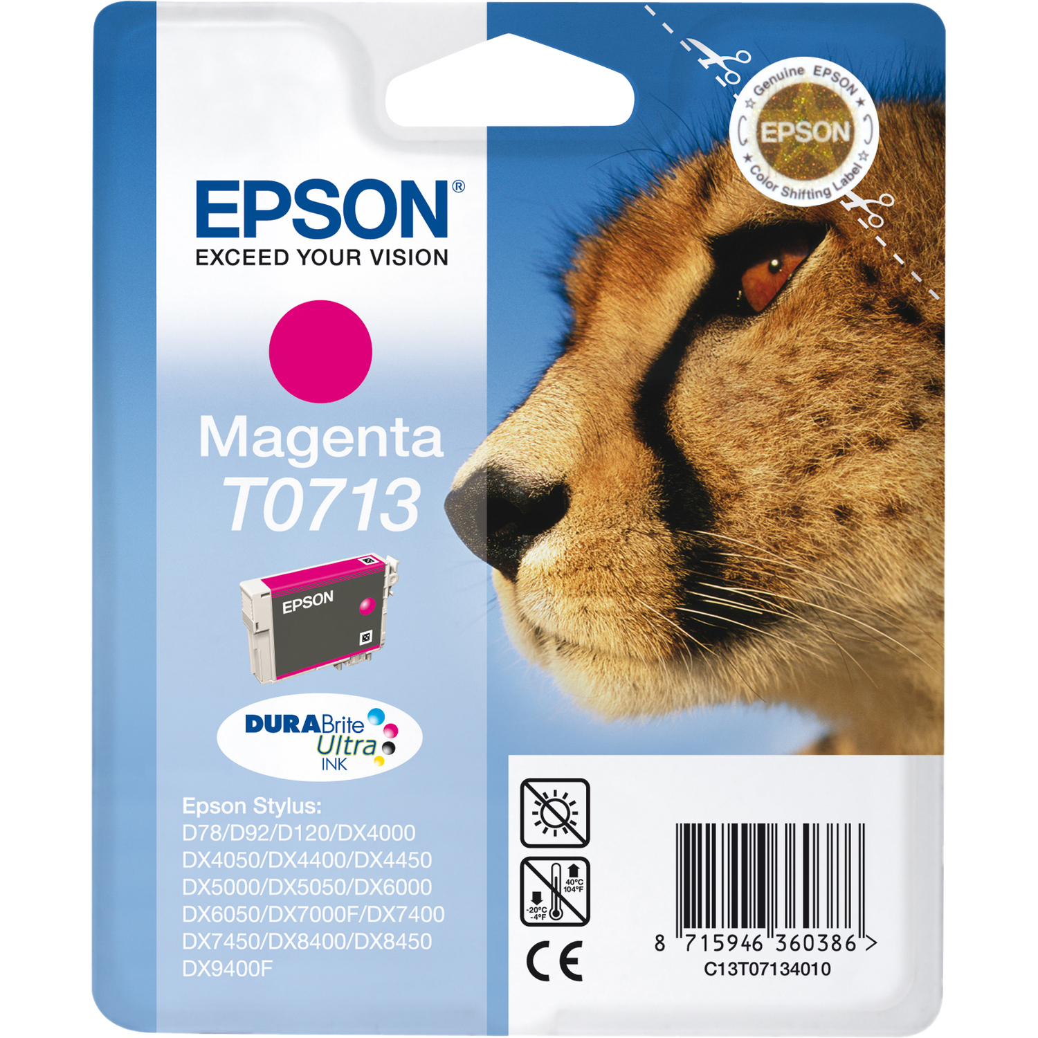 Epson DURABrite Ultra T0713 Ink Cartridge - Magenta