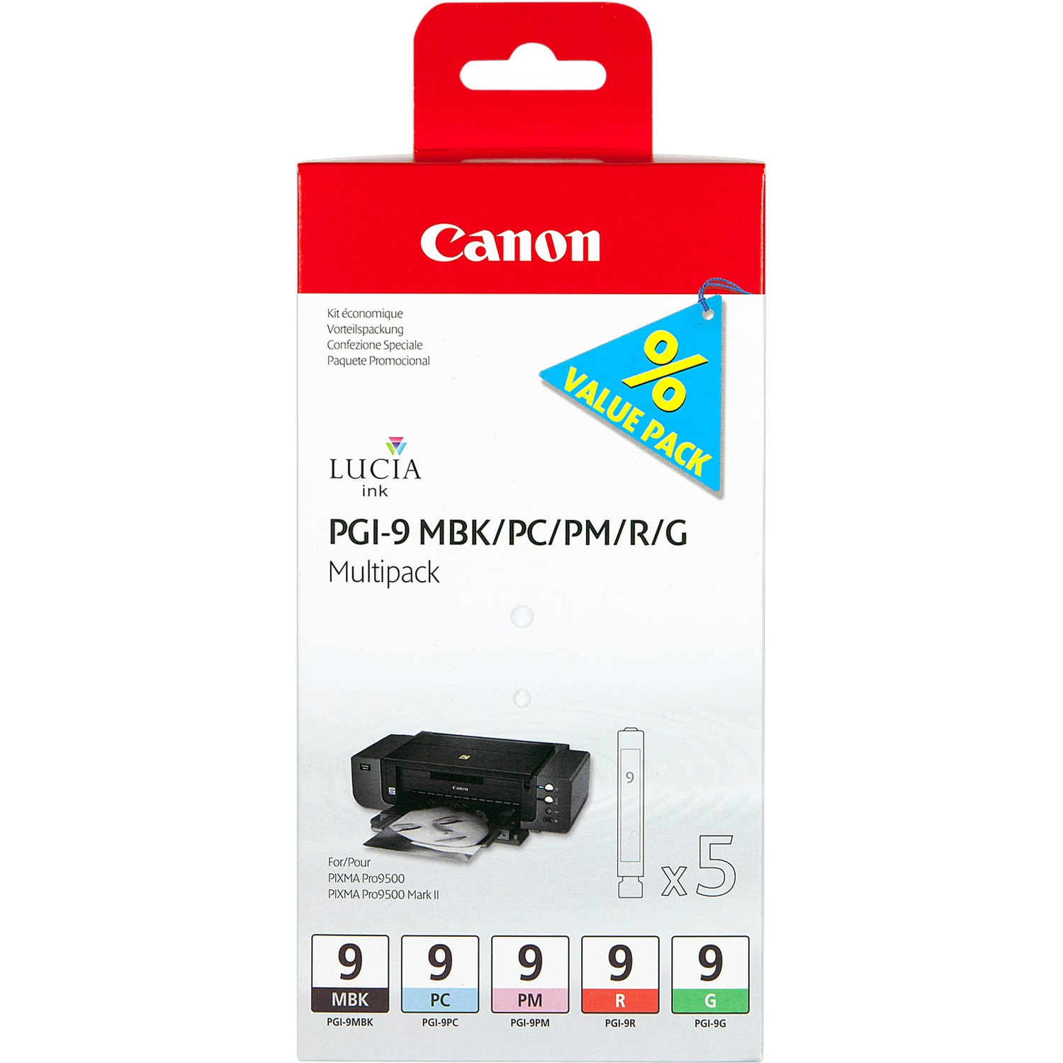 Canon LUCIA PGI-9 Ink Cartridge - Matte Black, Photo Cyan, Photo Magenta, Red, Green