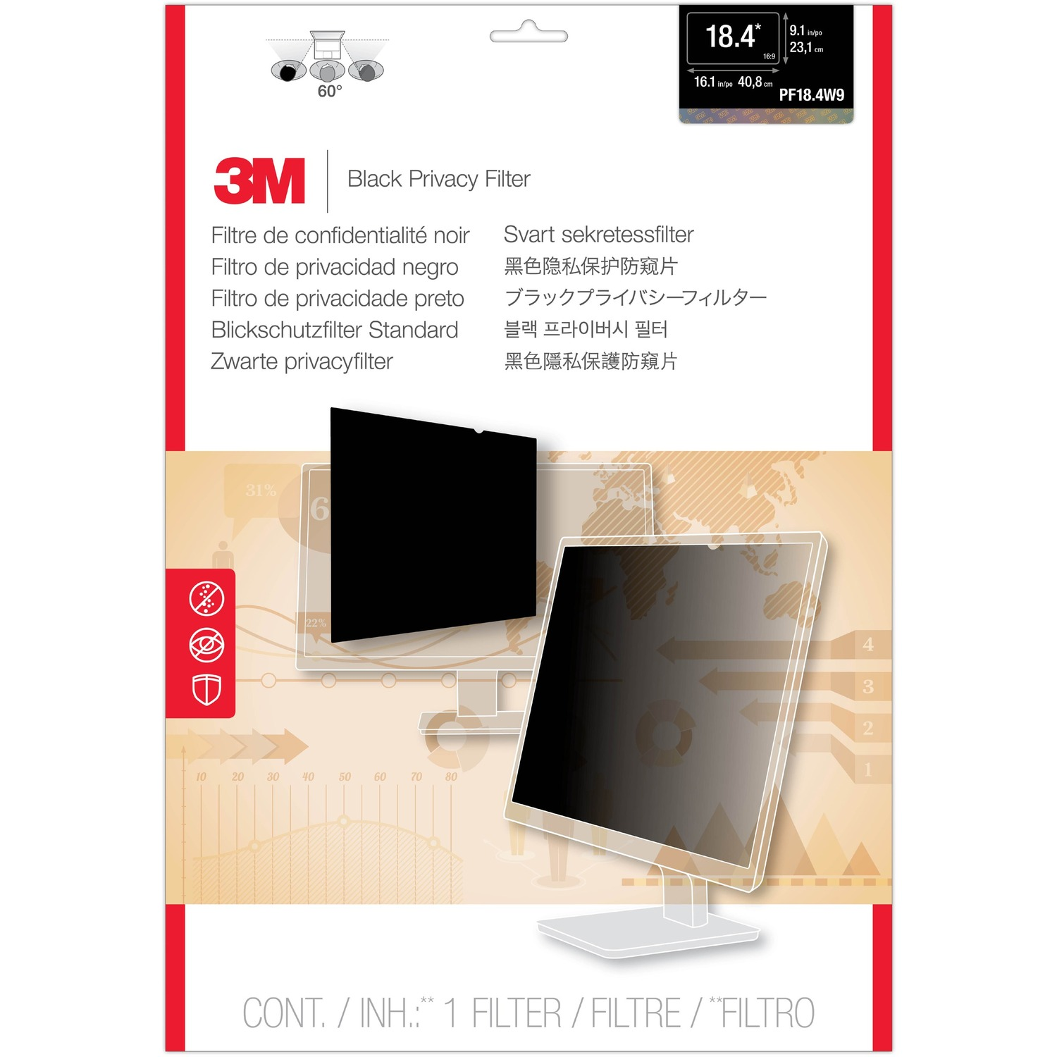 3M PF18.4W9 Matte Privacy Screen Filter - For 46.7 cm 18.4inch Widescreen Monitor