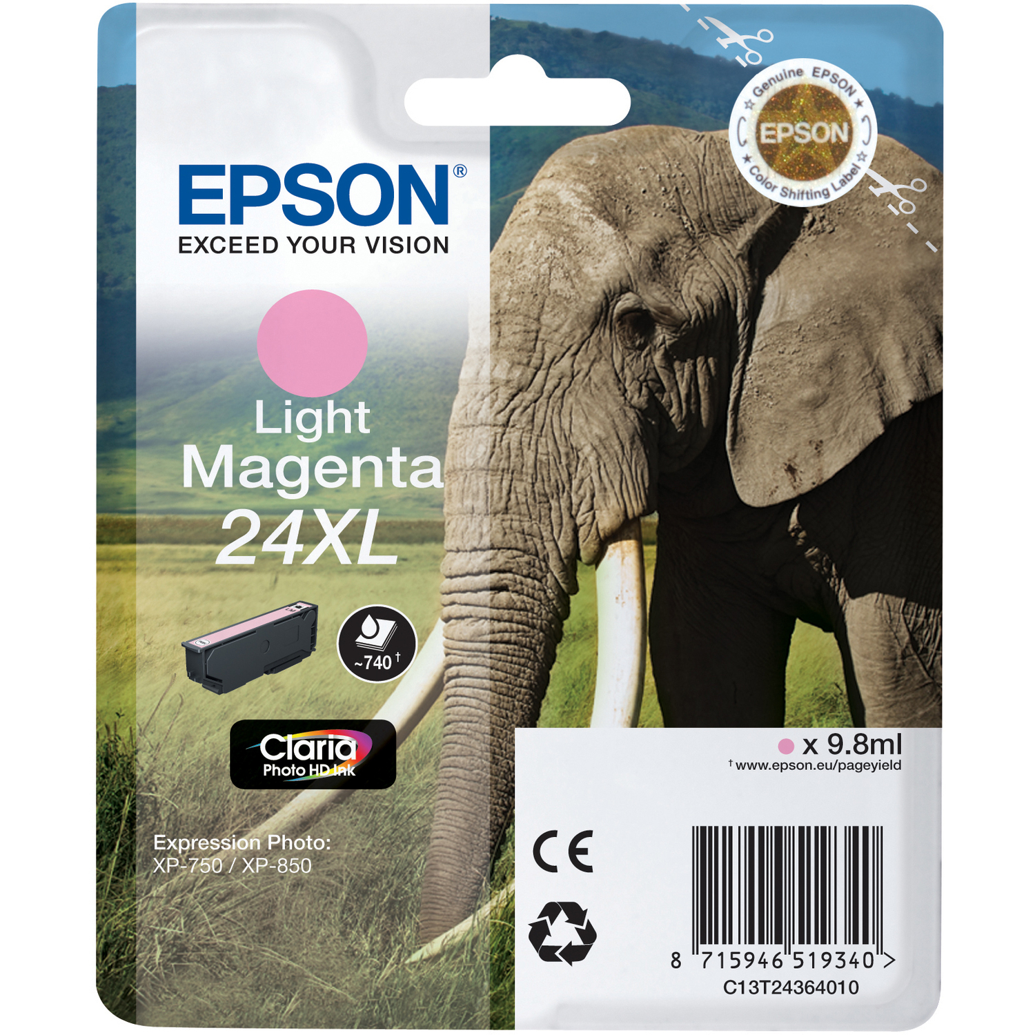 Epson Claria 24XL Ink Cartridge - Light Magenta