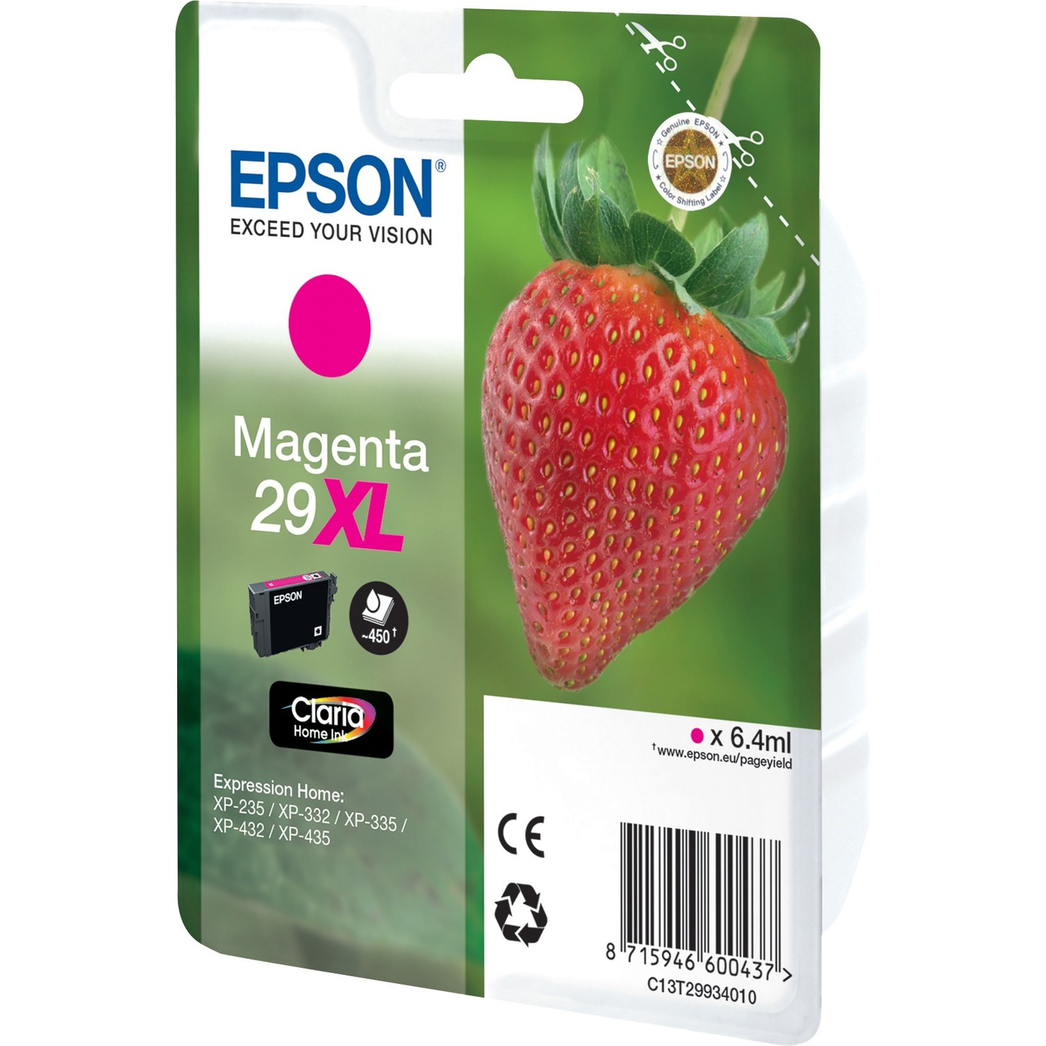 Epson Claria 29XL Ink Cartridge - Magenta - Inkjet - 450 Page - 1 / Pack