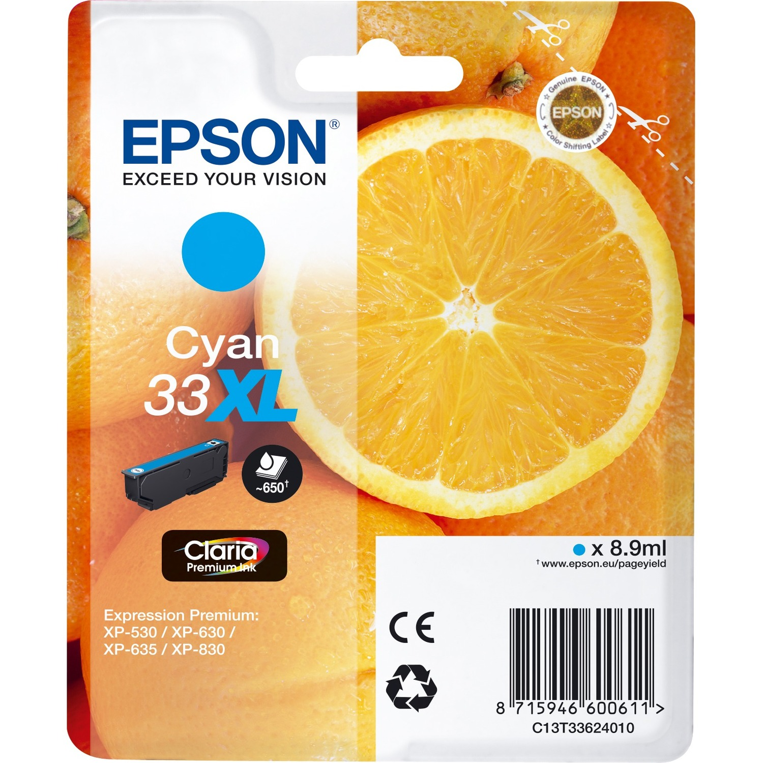 Epson Claria 33XL Ink Cartridge - Cyan - Inkjet - High Yield - 650 Page - 1 / Blister Pack