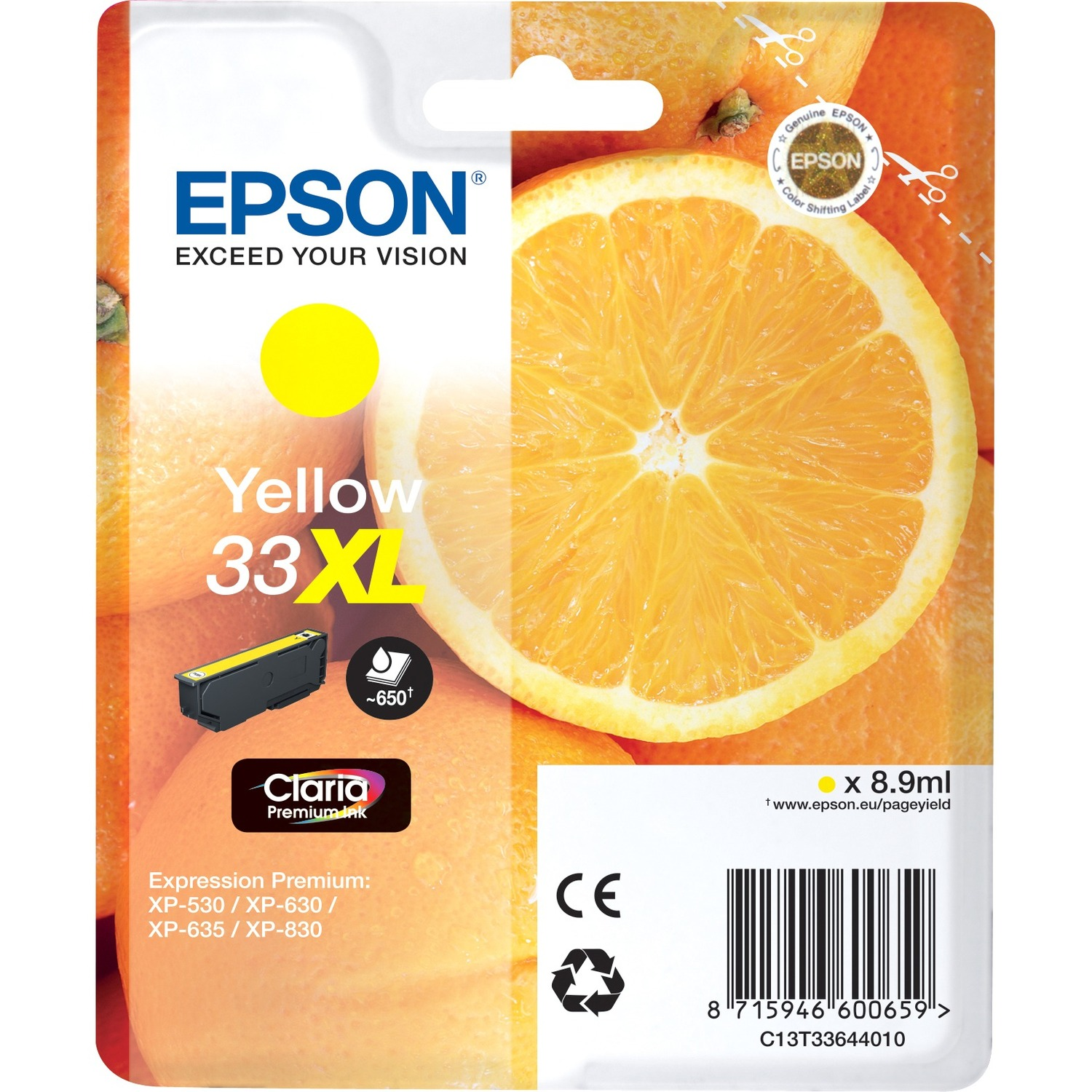 Epson Claria 33XL Ink Cartridge - Yellow - Inkjet - High Yield - 650 Page - 1 / Blister Pack