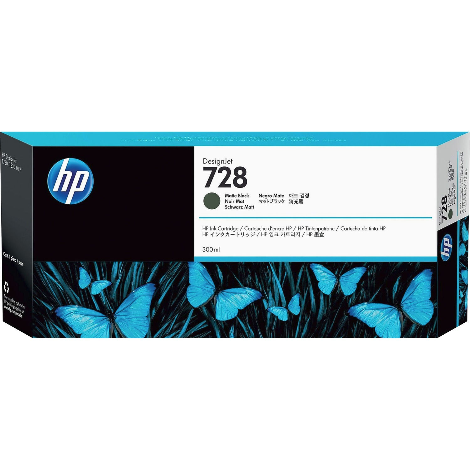 HP 728 Original Ink Cartridge - Matte Black - Inkjet