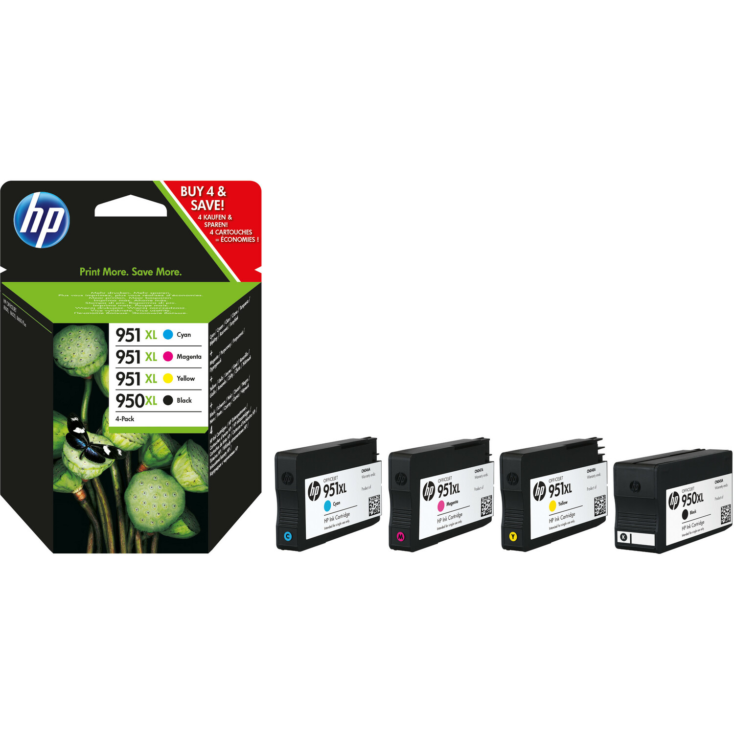 HP 950XL/951XL Ink Cartridge - Black, Cyan, Magenta, Yellow