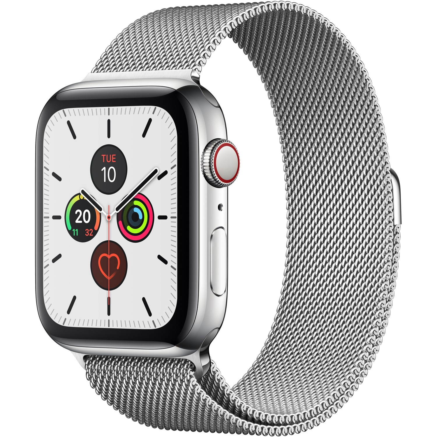 Apple Watch Series 5 Smart Watch - Wrist Wearable - Silver Band - Stainless Steel Case - Cellular Phone Capability - LTE, UMTS