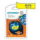 "Dymo LetraTag Label Maker Tape Cartridge - 1/2"" Width x 13 ft Length - Direct Thermal - Yellow - Polyester - 1 / Each"
