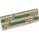 Sparco Flat Coin Wrappers - 1000 Wrap(s)Total $5.0 in 50 Coins of 10¢ Denomination - 27.22 kg Paper Weight - Kraft - Green