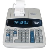 "Victor 15606 Printing Calculator - 5.2 - Clock, Date, Big Display, Independent Memory, Durable, Heavy Duty, Sign Change, Item Count, 4-Key Memory - AC Supply Powered - 2.8"" x 8.8"" x 12.5"" - Gray - 1 Each"