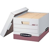 """Bankers Box R-Kive® - Letter/Legal, White/Red - Internal Dimensions: 12"""" (304.80 mm) Width x 15"""" (381 mm) Depth x 10"""" (254 mm) Height - External Dimensions: 12.8"""" Width x 16.5"""" Depth x 10.4"""" Height - Media Size Supported: Letter, Legal - Lift-off Clos"""